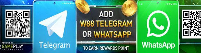 W88 WhatsApp and telegram bonus